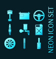 set car service glowing neon icons vector image