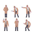 set of detective characters vector image