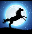 silhouette of horse on the moon background vector image vector image