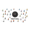 time to sell concept with clock on crowd market vector image vector image