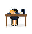 Tired businesswoman sleeping on the office desk