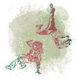 two break dance dancers on handcrafted splashes vector image vector image
