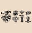 vintage custom motorcycle designs set vector image