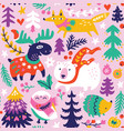 winter seamless pattern with cartoon animals in vector image vector image