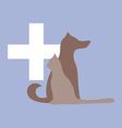 Veterinary cross cat and dog logo vector image