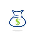 dollar bag finance bank logo vector image