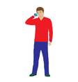 Man with the phone vector image