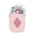 a girl and a cat sleep in bed good night vector image vector image