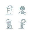 air and soil pollution line icons set vector image