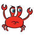 angry red crab color on white background vector image vector image