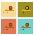 assembly flat icons nature cartoon lion vector image vector image