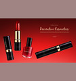 banner with a female collection of makeup vector image