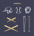 baseball equipment set of vector image