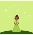 Beautiful cartoon princess on green background vector image vector image