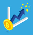 bitcoin golden growth with blue arrow and chart vector image vector image