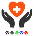 cardiology care hands flat icon vector image