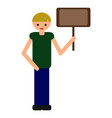 cartoon boy holding nameplate flat style vector image