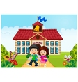 Cartoon little children leaving school vector image vector image