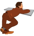 Cartoon man in brown suit back view vector image vector image