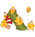 Chickens and a slide cartoon vector image