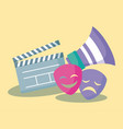 clapboard director of cinema with megaphone and vector image