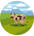 cute cartoon cow on background landscape vector image vector image