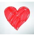 Felt pen drawing of Valentine heart vector image vector image