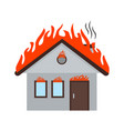 fire consuming house vector image vector image