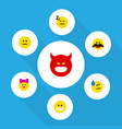 flat icon face set of pouting grin displeased vector image vector image