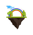 floating island with a rainbow and trees vector image vector image