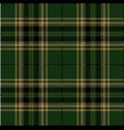 green and black tartan plaid scottish pattern vector image vector image
