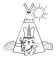 grunge rabbit animal with arrows and camp design vector image vector image