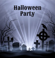 Halloween party with eery white light on a spooky vector image vector image