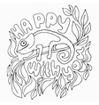 Hand draw greeting card with cute animal hameleon vector image
