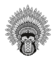 Hand Drawn patterned Monkey in zentangle style vector image