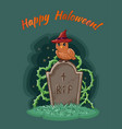 happy halloween postcard owl with a hat sits on a vector image vector image