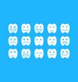 happy teeth set vector image vector image