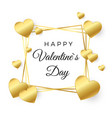 happy valentines day greeting card gold heart and vector image vector image