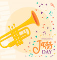 jazz day poster of saxophone music instrument vector image vector image