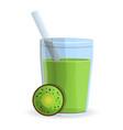 kiwi smoothie glass icon cartoon style vector image