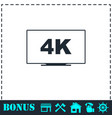 lcd 4k icon flat vector image vector image