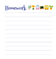 Lined homework sheet vector image vector image