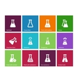 Medicine flask icons on color background vector image
