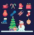 merry christmas icons snowman decorated vector image