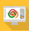monitor icon flat style vector image vector image