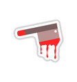 paper sticker on background of knife blood vector image vector image