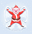 pig santa claus making a snow angel vector image