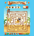 pirate beach maze puzzle game vector image vector image