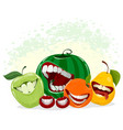 playful fruits on white vector image
