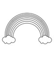 rainbow and clouds cartoon black and white vector image